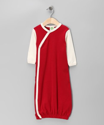 Red & Natural Organic Wrap Gown - Infant