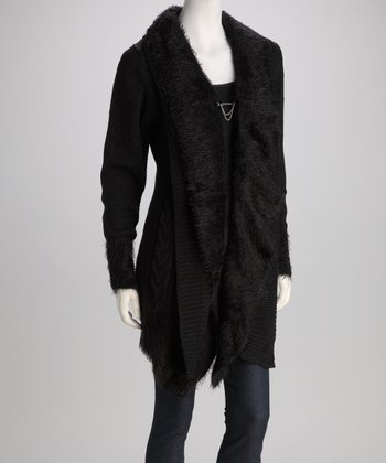 Black Faux Fur Knit Jacket