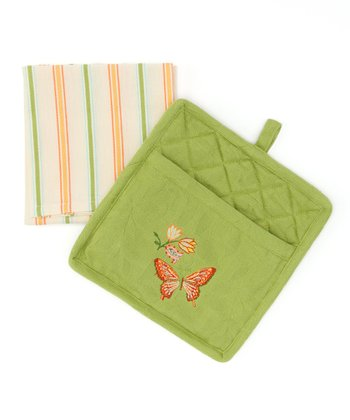 Park Designs Butterfly Pocket Dish Towel & Pot Holder Set