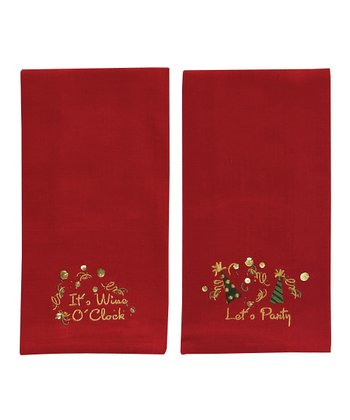 'Party' & 'Wine' Bar Towel Set