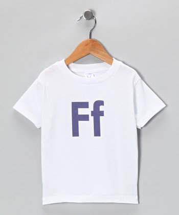 White & Lavender 'F' Tee - Toddler & Kids