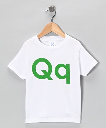 White & Green 'Q' Tee - Toddler & Kids