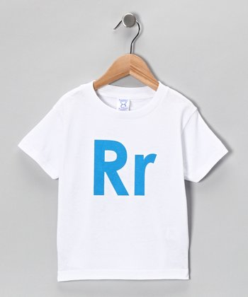White & Blue 'R' Tee - Toddler & Kids