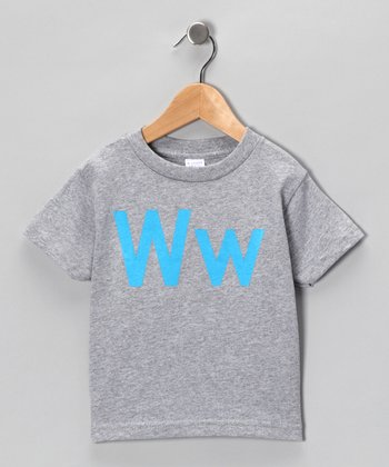 Gray & Blue 'W' Tee - Toddler & Kids