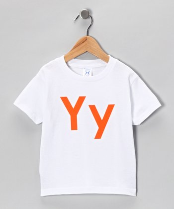 White & Orange 'Y' Tee - Toddler & Kids