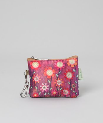 Pink Flower Zip-Top Coin Purse
