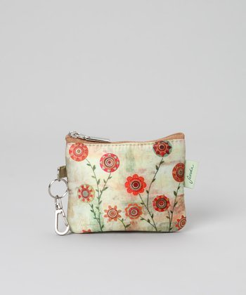 Cream Vine Zip-Top Coin Purse
