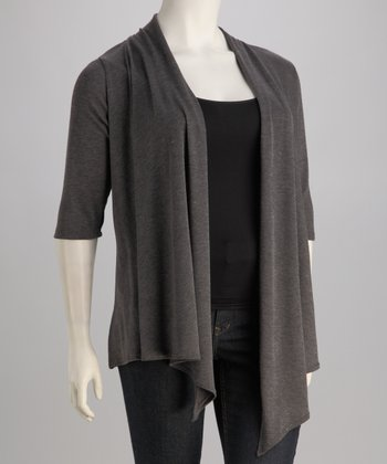 Charcoal Plus-Size Open Cardigan