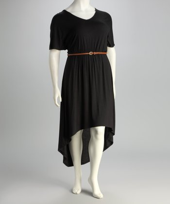 Black Belted Plus-Size Hi-Low Dress