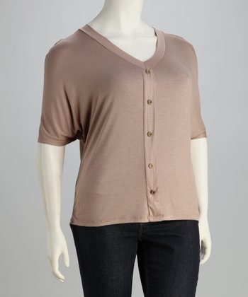 Mocha Lace-Back Plus-Size V-Neck Top