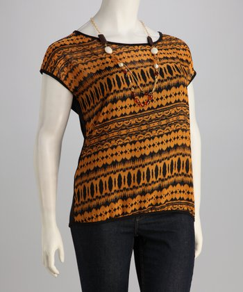 Gold & Black Geometric Plus-Size Top