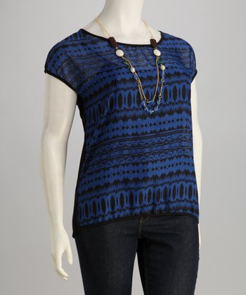 Royal Blue & Black Geometric Plus-Size Top