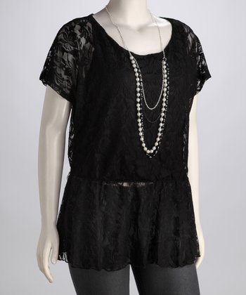 Black Lace Plus-Size Peplum Top
