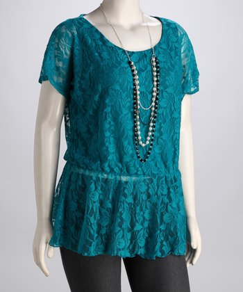 Jade Lace Plus-Size Peplum Top