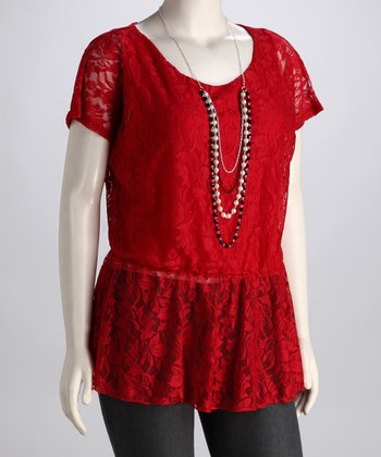Red Lace Plus-Size Peplum Top