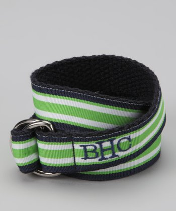 Lime & Navy Stripe Monogram D-Ring Belt