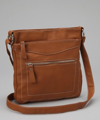 Light Brown Contrast-Stitch Crossbody Bag