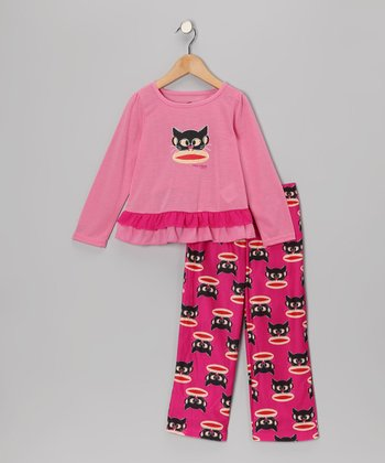 Pink Monkey Cat Pajama Set - Girls