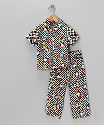 Black Gingham Monkey Pajama Set - Boys