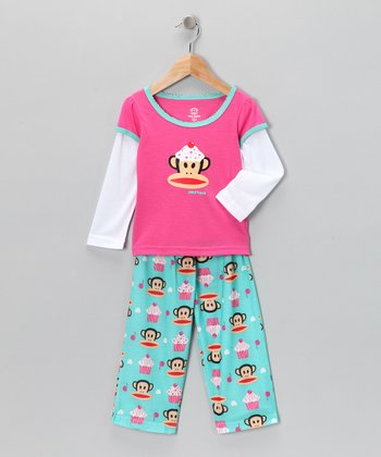 Teal Monkey Pajama Set - Toddler & Girls