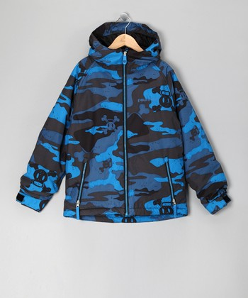 Blue Camo Skull & Crossbones Jacket - Boys