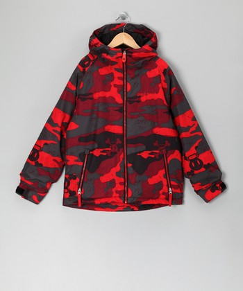 Red Camo Skull & Crossbones Jacket - Boys