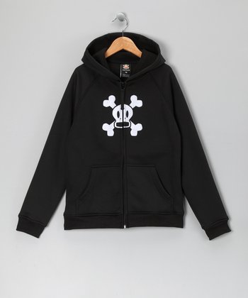 Black Skull & Crossbones Fleece Zip-Up Hoodie - Boys