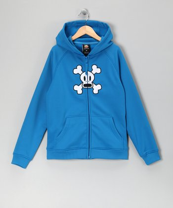 Blue Skull & Crossbones Fleece Zip-Up Hoodie