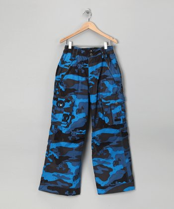 Blue Camo Skull & Crossbones Snow Pants - Boys