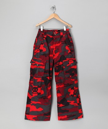 Red Camo Skull & Crossbones Snow Pants - Boys