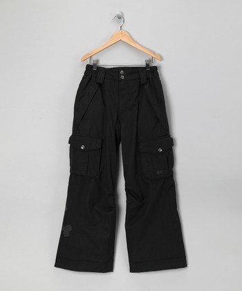 Black Herringbone Skull & Crossbones Snow Pants - Boys