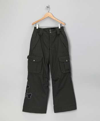 Charcoal Herringbone Skull & Crossbones Snow Pants - Boys