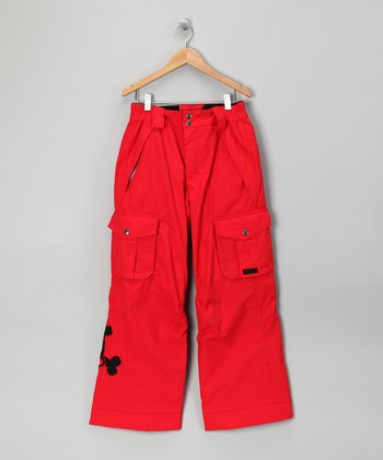 Red Skull & Crossbones Snow Pants - Boys