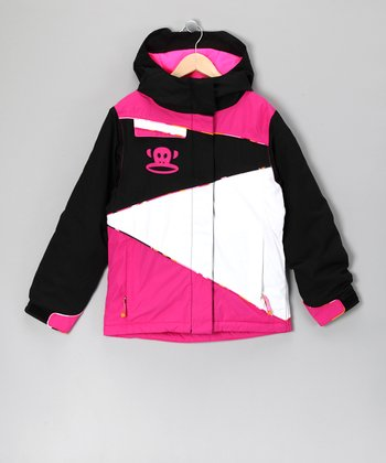 Black & Pink Color Block Monkey Jacket - Girls