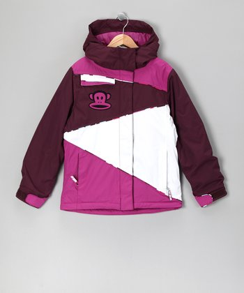 Light Plum Color Block Monkey Jacket - Girls