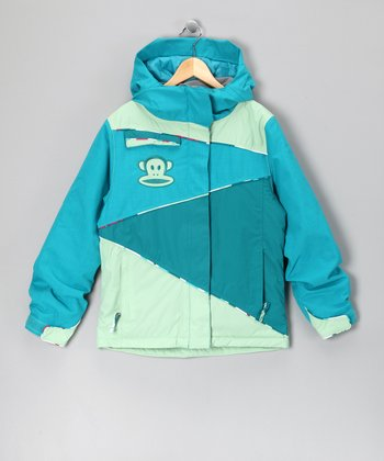 Teal Color Block Monkey Jacket - Girls