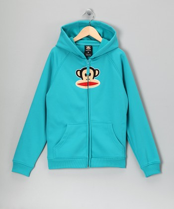 Turquoise Monkey Fleece Zip-Up Hoodie - Girls