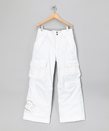 White Herringbone Monkey Snow Pants - Girls
