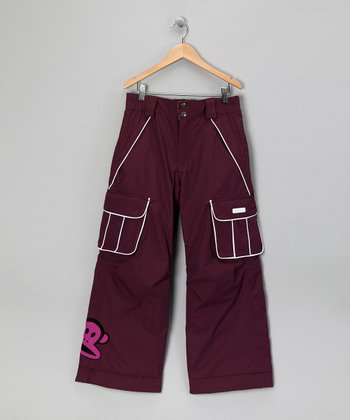 Light Plum Monkey Snow Pants - Girls