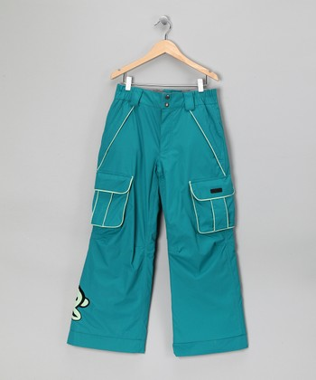 Teal Monkey Snow Pants - Girls