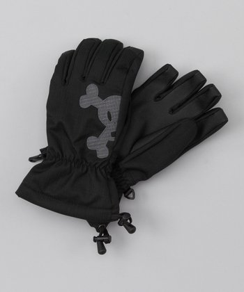 Black Skull & Bones Gloves - Boys
