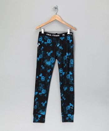 Blue Skull & Crossbones Fade Layer Pants - Boys