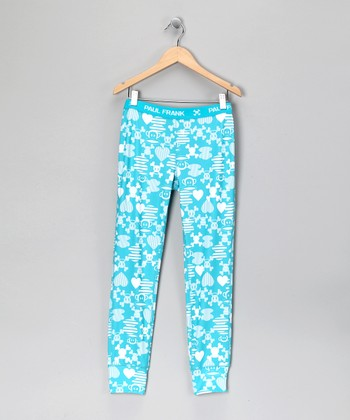 Turquoise Heart & Skull Dream Layer Pants - Girls