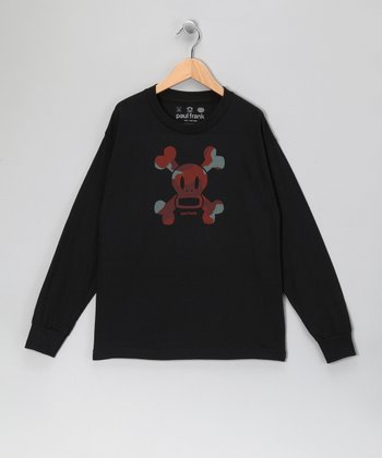 Black Skull & Crossbones Long-Sleeve Tee - Boys
