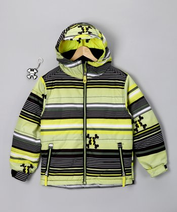 Acid Green Stripe Puffy Jacket - Boys