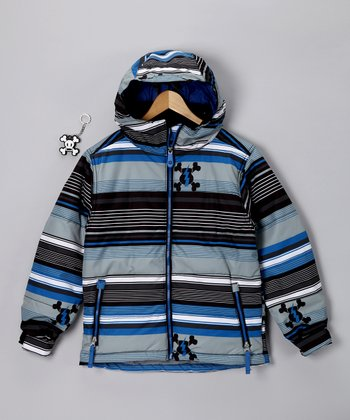 Royal Blue Stripe Puffy Jacket - Boys