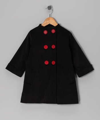 Black Double-Breasted Jacket - Infant, Toddler & Girls