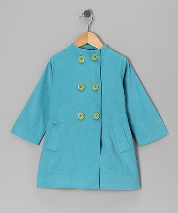 Turquoise Double-Breasted Jacket - Toddler & Girls