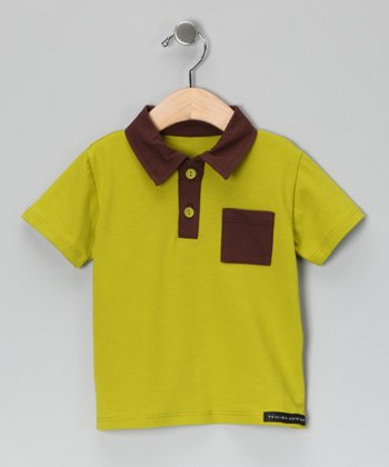 Light Green & Brown Polo - Infant, Toddler & Boys