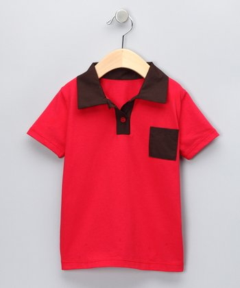 Red & Brown Polo - Toddler & Boys